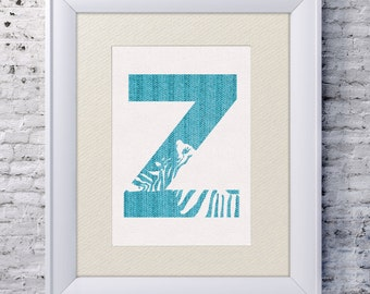 5x7 Alphabet Print 'Z is for Zebra' - Knitted Baby Art - Zebra Baby Art - Baby Alphabet Print - Letter Z - Zoo Animal Print - Zebra Wall Art