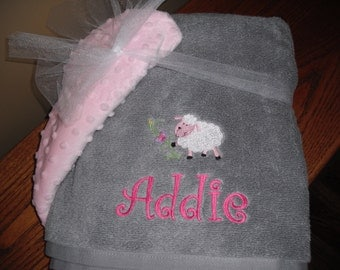 Custom Embroidered/Personalized Hooded Bath Towel - Girl themes on grey towel