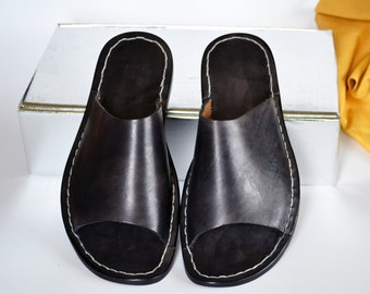 Leather Sandals Men Handmade - One Band _ M DESIGN