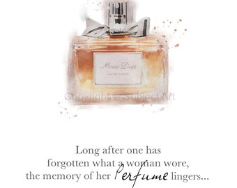 ART PRINT of Miss Dior Perfume, Fashion Quote ' Memory of her perfume lingers', Fashion Gifts, Wall Art