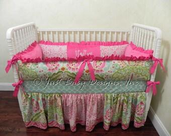 Custom Crib Bedding Hadley - Girl Baby Bedding, Kumari Garden Bedding with Hot Pink