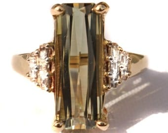 Spectacular 6 ct Sage Green Tourmaline & Diamond Ring