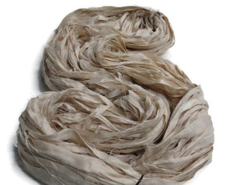 NEW Huge Premium Sari Silk Ribbon, Antique White
