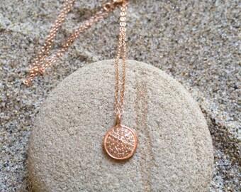 Pave Diamond Rose Gold Lg Circle Pendant