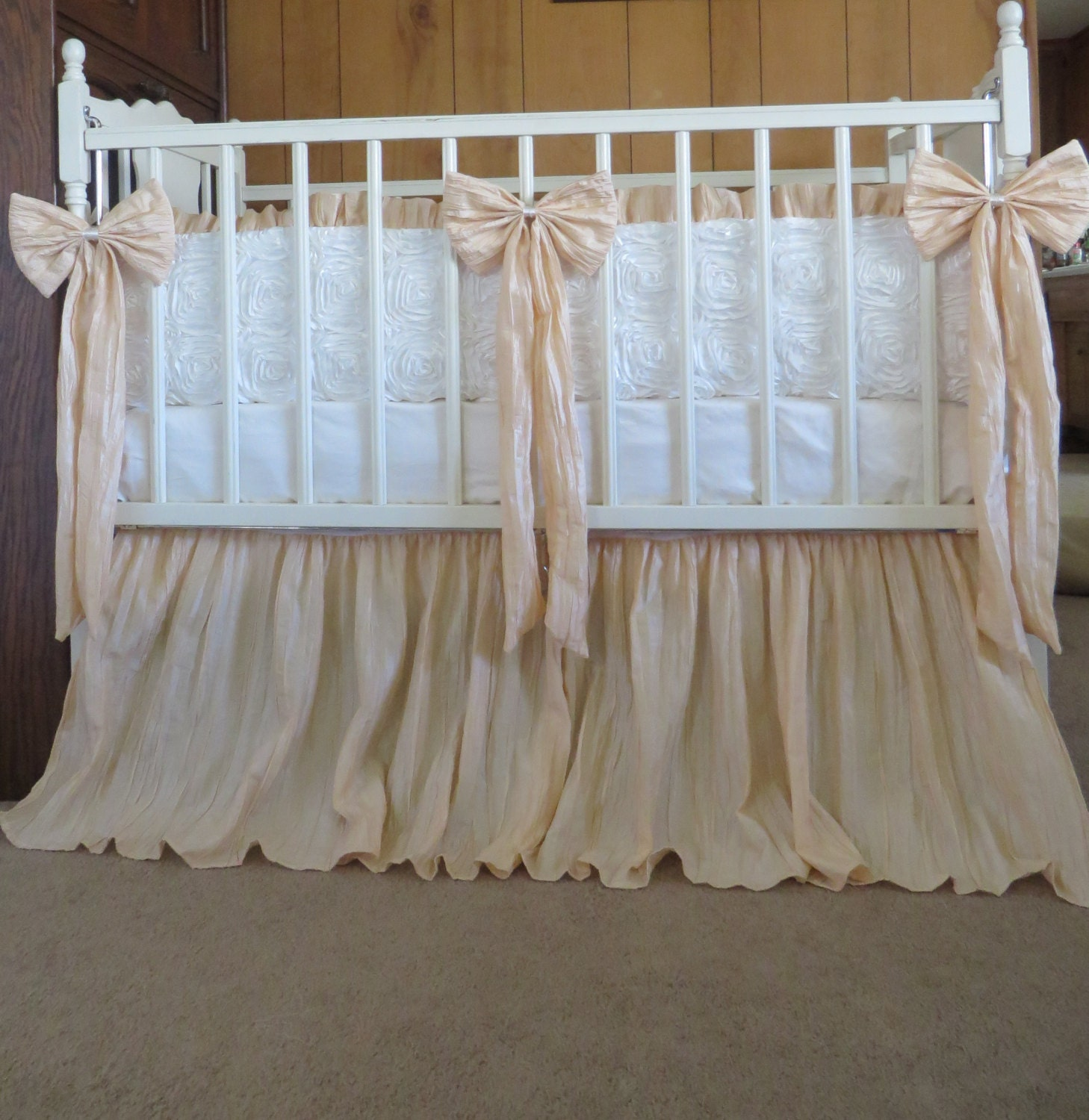 vintage inspired crib bedding in ivory and crinkled tan light