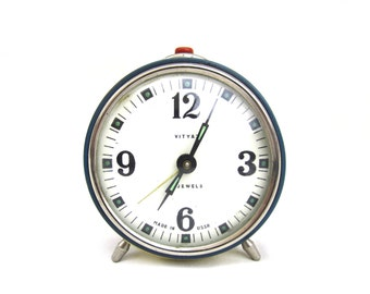 VITYAZ - Vintage Blue Mechanical Alarm Clock / Made in USSR