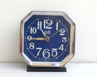 MOM - Vintage Blue Mechanical Alarm Clock - Made in Hungary
