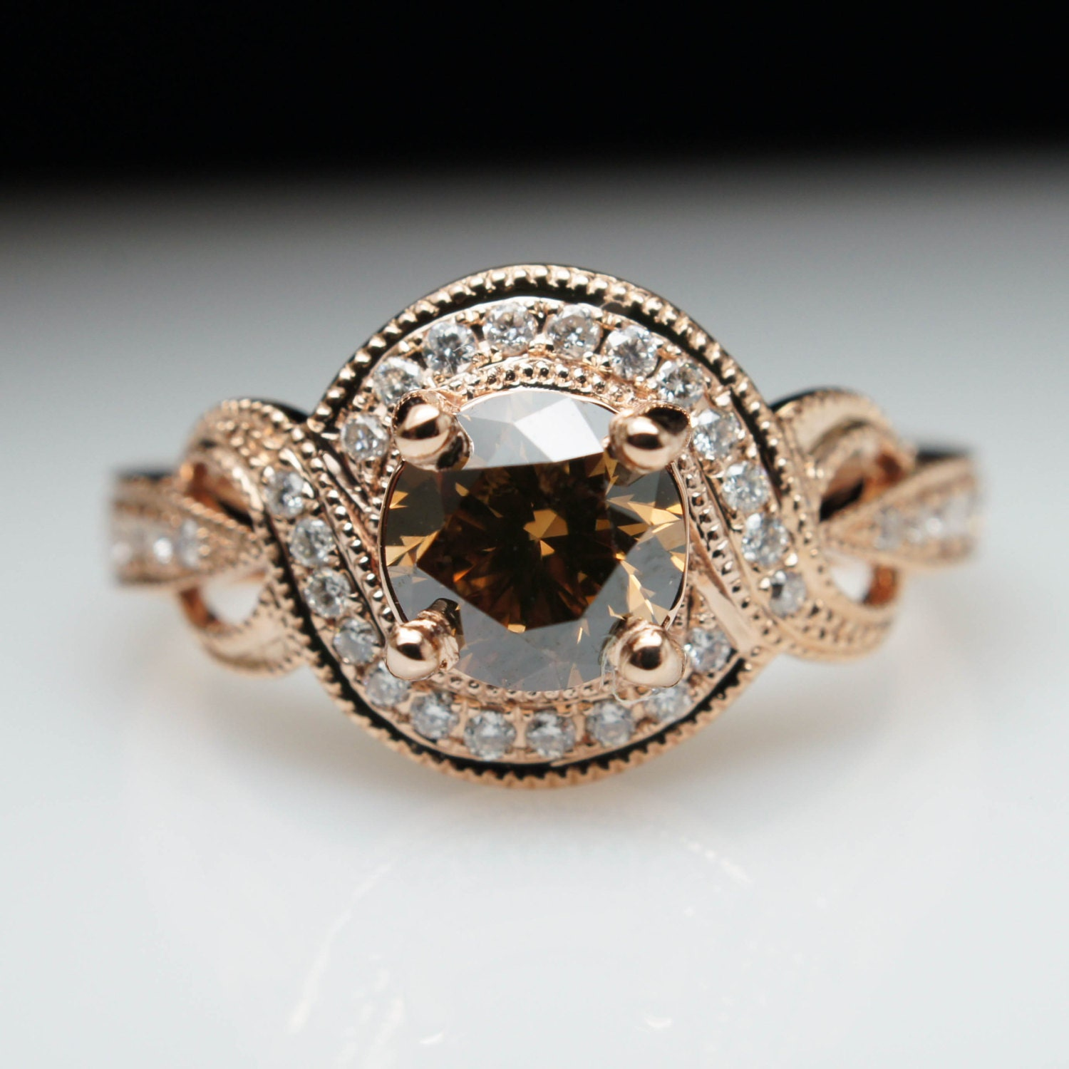 Cognac Brown Diamond Rose Gold Engagement Ring Round Vintage