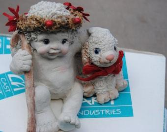 Dreamsicle Angel and Lamb Christmas 1994//Vintage Christmas