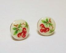 Red Cherry Earrings Fruit Earrings Fruit Ear Posts Petite Earrings Spring Summer Earrings Vtg Milk Glass Shabby Chic Retro Fruit Jewelry