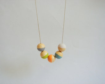 Geometric Necklace ,Handpainted Wood Geometric Necklace,Geometric Jewelry