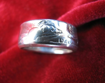 COIN RING made from a 1940 Walking Liberty Half Dollar, A NEW unsized Mens / Mans ring 76 year old American 90% silver coin