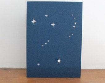 Orion constellation Zodiac Papercut  Greetings Card
