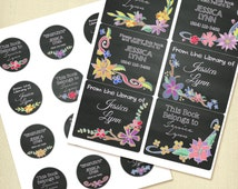 Custom Book Plates Printable, Personalized Chalkboard Floral Book Plates Labels or Stickers