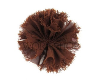 "Brown - Set of 3 Unfinished 3"" Frayed Chiffon Ballerina Flowers - FBF-027"