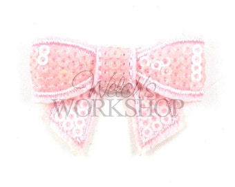 "Plain Pink - Set of 3 Mini 2"" Sequin Bows - MSB-008"