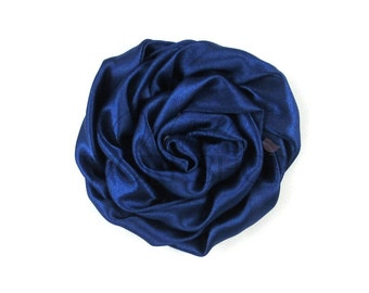 """Navy Blue - Set of 3 Large 3"""" Rolled Satin Flowers - RSF-011"""