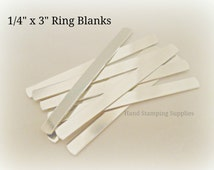 "Pre Tumbled 18G Aluminum .25 1/4 inch x 3"" Wrap Ring Blanks Rectangle Stamping Blanks"