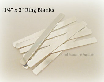 """Pre Tumbled 18G Aluminum .25 1/4 inch x 3"""" Wrap Ring Blanks Rectangle Stamping Blanks"""