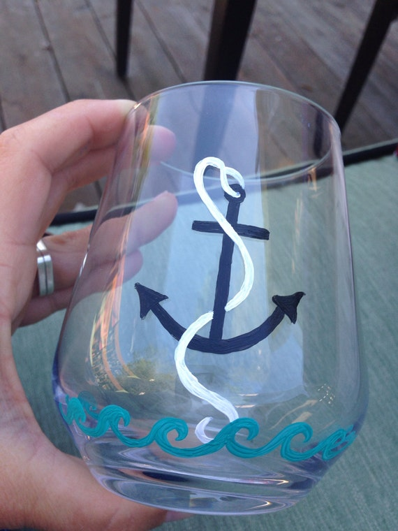 Hand painted stemless wine glasses anchor and wave design for Painted stemless wine glasses