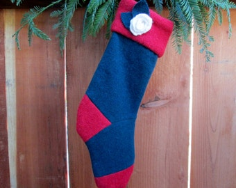 Ready to ship! Recycled sweater wool stocking. Wool stocking country christmas stocking recycled . Eco friendly holiday stocking