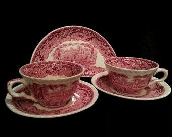 2 Masons Vista Red English Transferware Tea Cup Saucer Set