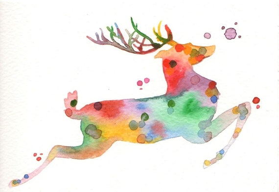 original watercolor christmas card reindeer. Black Bedroom Furniture Sets. Home Design Ideas