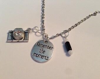 Moments, remember, inspirational, camera, camera jewelry, remember jewelry, camera pendant, photographer gift, inspirational jewelry