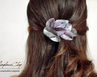 purple silver leafs hair clip, hair accessories ,hair barrette