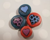Handmade Magnets Hearts & Swirls Set of 6 -Purple, Silver, Black, Blue and Red