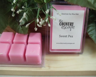 Sweet Pea Scented 100% Soy Wax Clamshell Melt - Sweet Pea Blossoms- Maximum Scented
