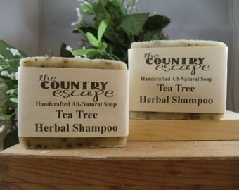 Tea Tree Herbal Shampoo Bar - Great Lather - Handcrafted - Organic - Vegan - Natural Soap - Paraben Free