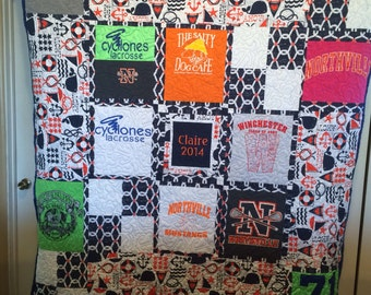 Any Size T-Shirt Quilt (Custom Make T-Shirt or  Memory Quilt)(this is a deposit see description)