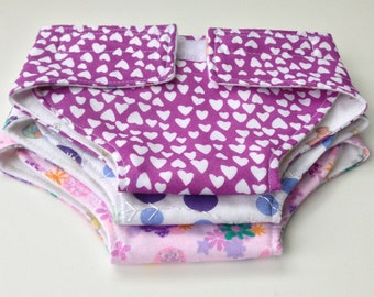 Doll Diapers. Set of 3. Purple, Pink and Blue. Hearts, flowers, and polka Dots.