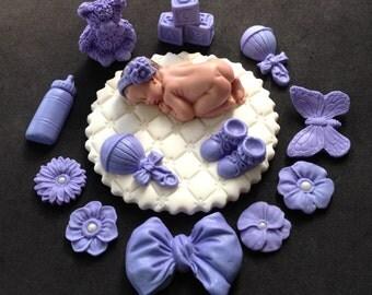 Fondant baby girl white lavender cake topper for Baby Shower, Birthday, Party Favor
