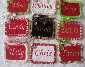 Stocking Tags - Custom Embroidered name