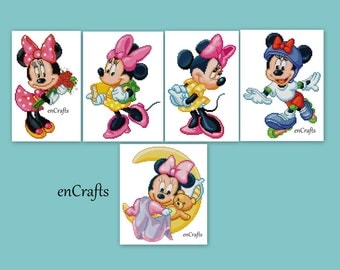Minnie Mouse 5 Cross Stitch Patterns