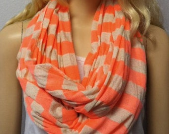 Neon Peach and Sand Stripes  Infinity Scarf Jersey  Knit