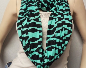Tribal Infinity Scarf  Navajo, Native  Southwestern SUPER Soft Jersey Knit, Fall Fashion Womens Fashion Accessories Fall Fashion