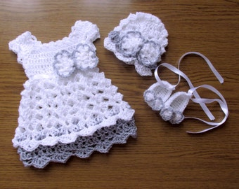 Baby girl outift, take me home dress, crochet baby dress , hat ,shoes , baby clothes ,bring home set