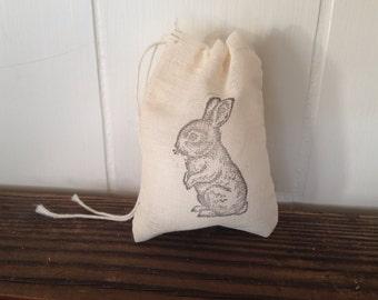 Bunny Muslin Cotton Bag Party Wedding Favor Gift Bag Stamped Rustic Bag Set of 10