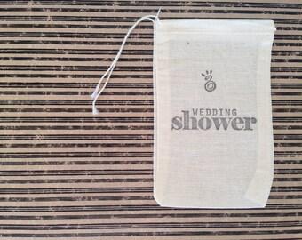Wedding Shower Muslin Favor Bag Country Wedding Gift Bag Stamped Set of 10 Rustic