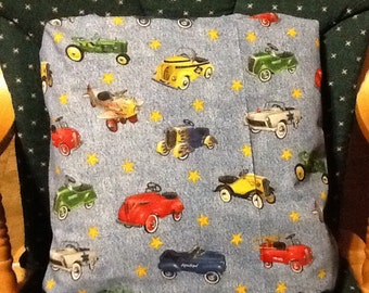 Hand-made old fashion cars throw pillow back solid blue