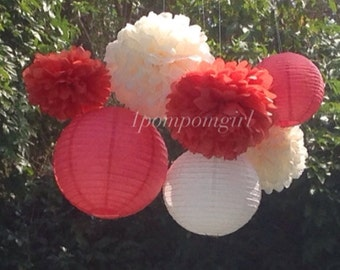 CORAL CREME / 4 Tissue Paper Pom Poms/4 Paper Lanterns / wedding decorations, birthday decor, baby shower, nursery, party decor, diy