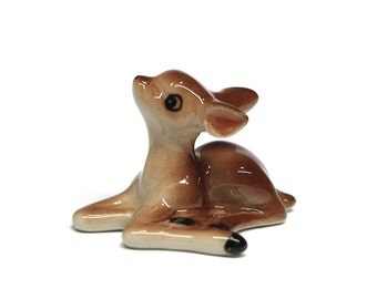 Miniature Animals Ceramic Brown Color Sitting Deer Fawn Ceramic Hand Painted