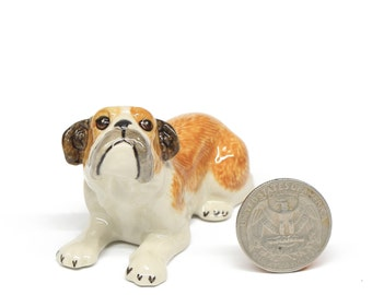 Miniature  Animals Ceramic Crawling Bulldog Dog Ceramic Hand painted