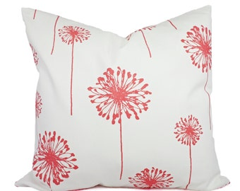 Coral Throw Pillows - Coral Pillows - Pink Dandelion Decorative Throw Pillows - Couch Pillows - Accent Pillows 12x16 14x14 16x16 18x18