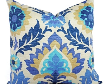 Two Outdoor Pillow Covers - 20 x 20 Inch - Blue Navy and Tan Pillows - Patio Pillows - Couch Pillow Cushion Cover Accent Pillow