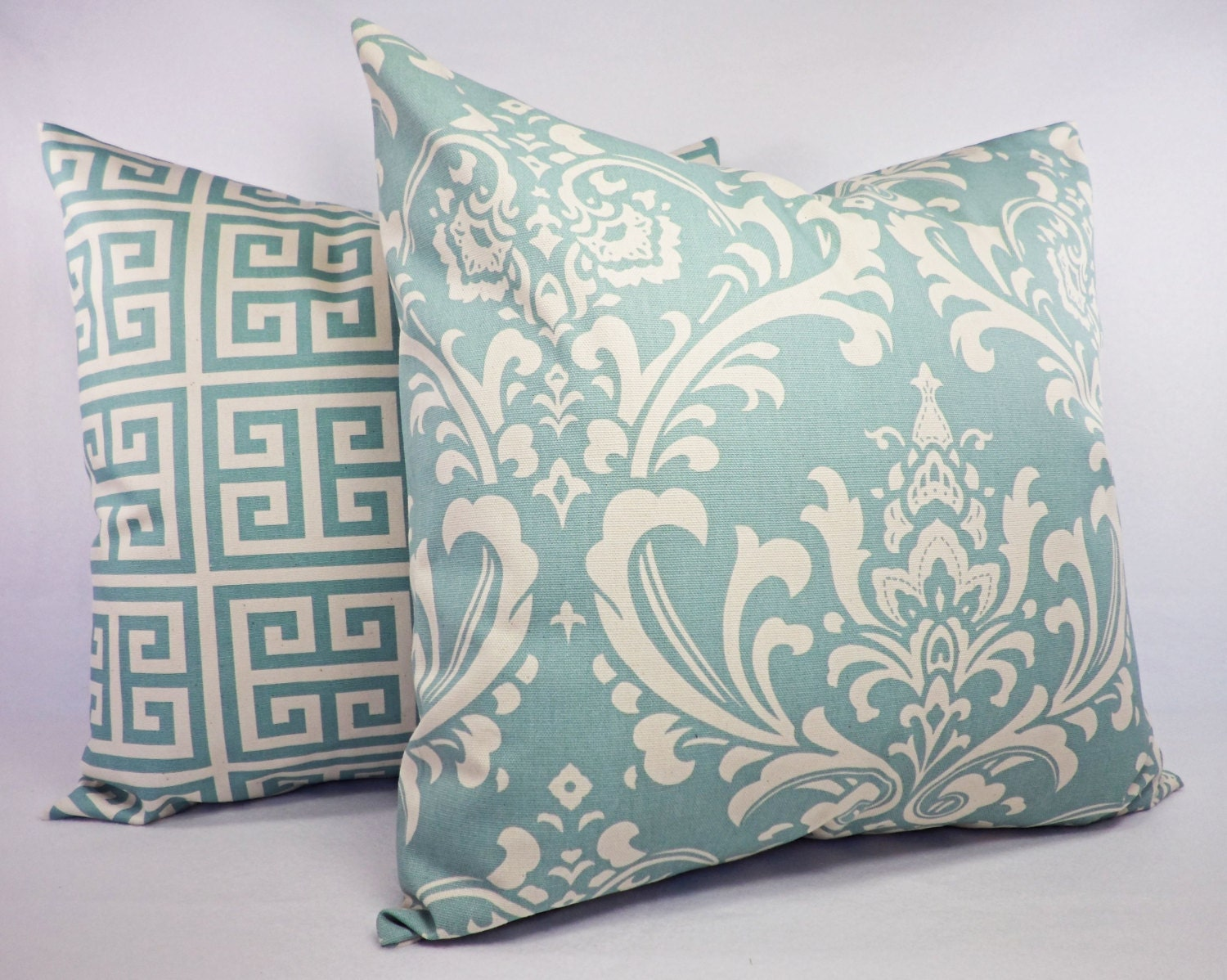 Spa Blue Throw Pillow Cover : Spa Blue and Beige Pillow Cover One Blue by CastawayCoveDecor