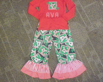 Rudolph Ruffle Pants and top Christmas Outfit Girls 12 18 2 3 4 5